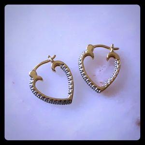 Sterling vermeil gold diamond heart earrings